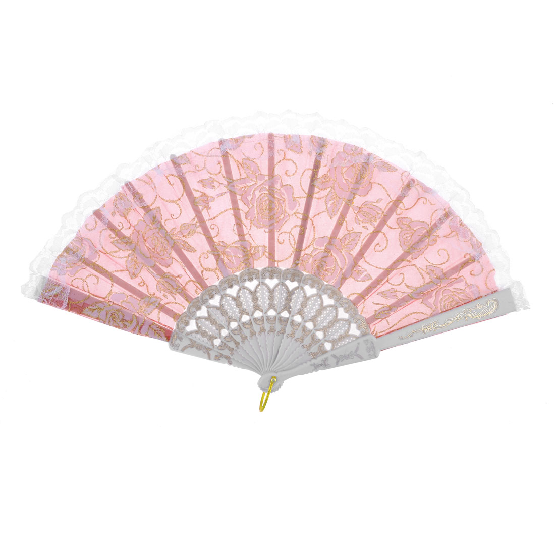 Flower Printed Lace Rim Plastic Ribs Folding Hand Fan White Pink