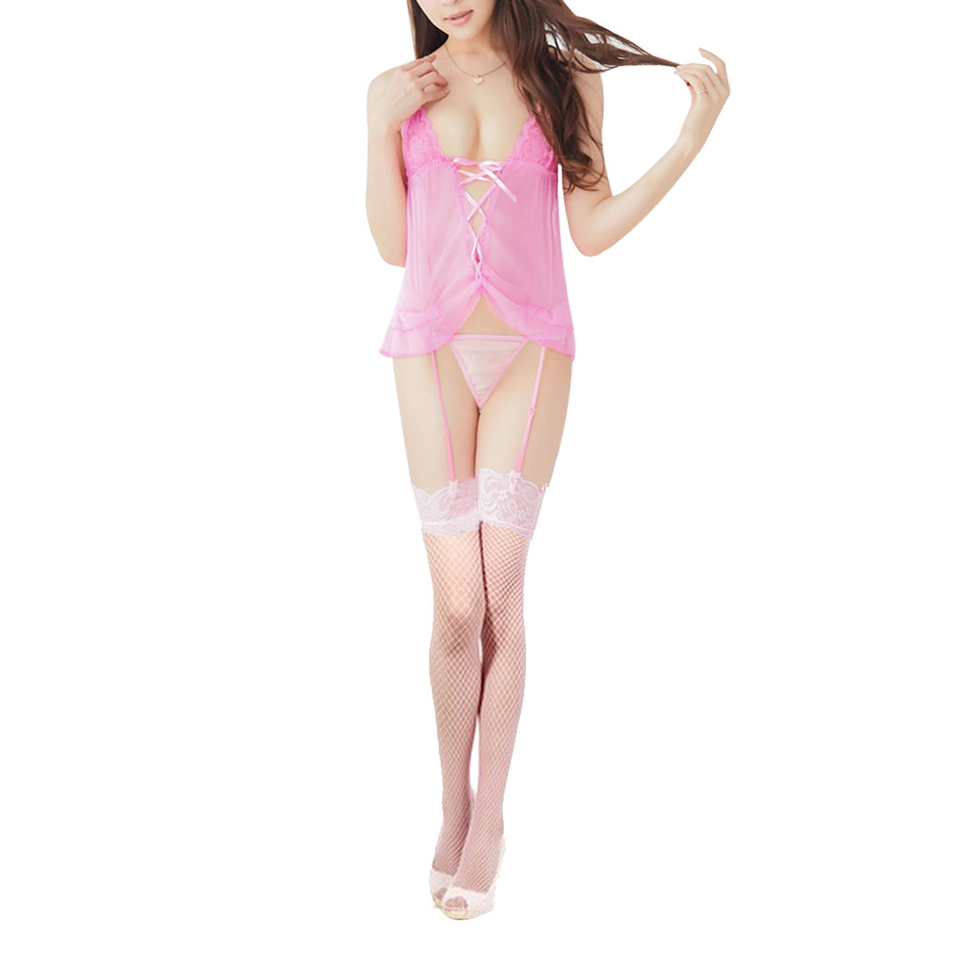 Ladies Pink Back Lace up Design Sexy Lingerie Top w G-String Stockings XS