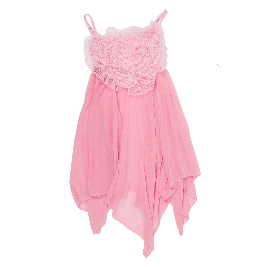 Ladies Pink Sleeveless Lace Flower Decor Sexy Lingerie Dress w G-String XS