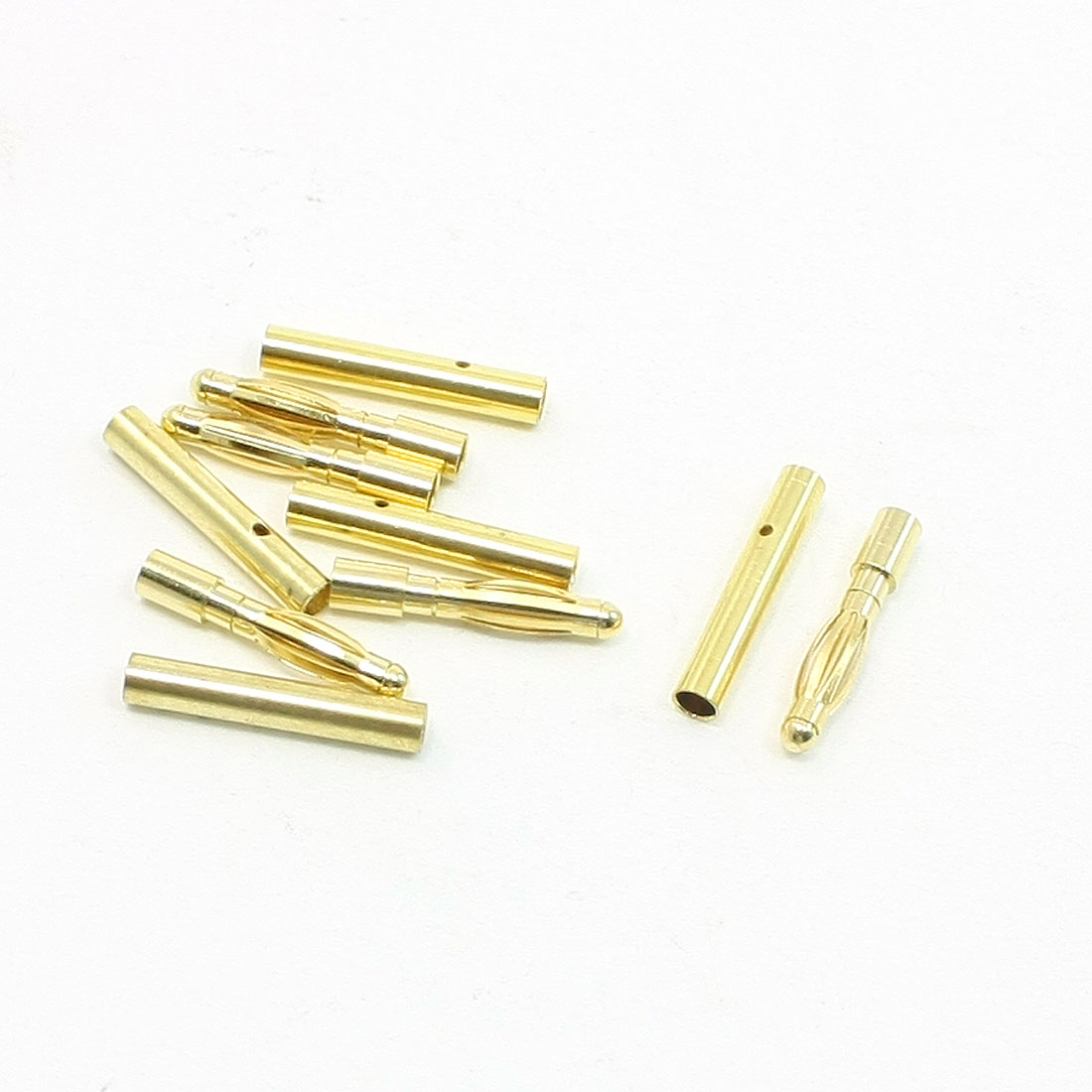 5 Pcs Gold Tone Metal RC Audio Video Telephone 2mm Dia Banana Connectors