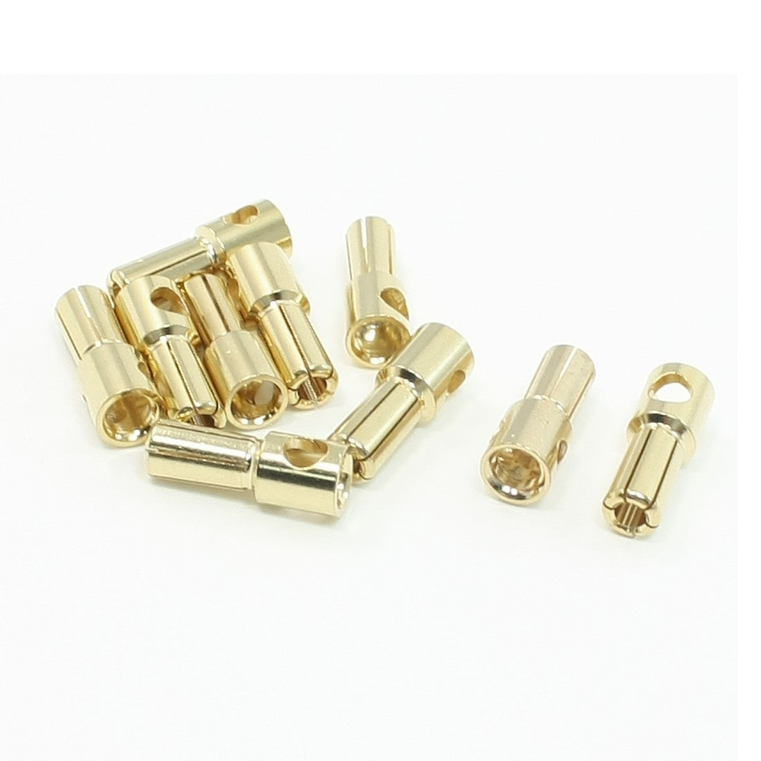 Gold Tone Metal RC Banana Cone Plug Connector Male 5.5mm 10 Pcs