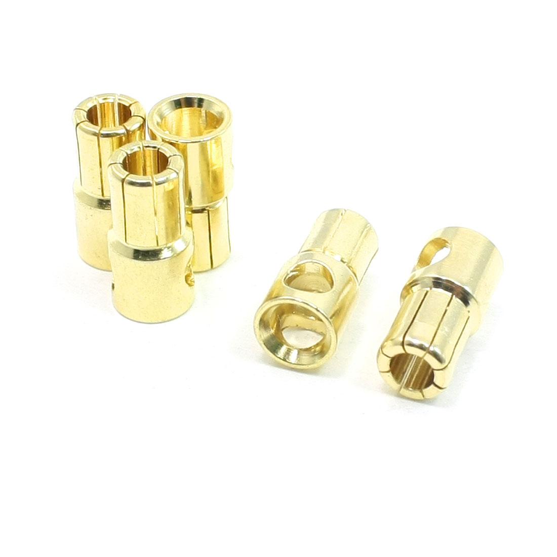 5 Pcs Gold Tone RC Audio Terminal Linking Banana Connectors 6mm Dia