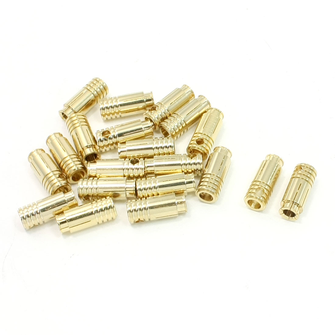 20 Pcs Gold Tone 6.5mm Female Banana Bullet Linking Connectors