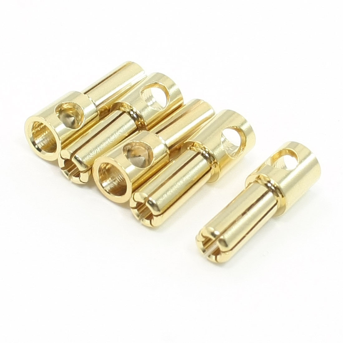 5 Pcs Gold Tone Plated 5mm Inside Dia Male Banana Connector