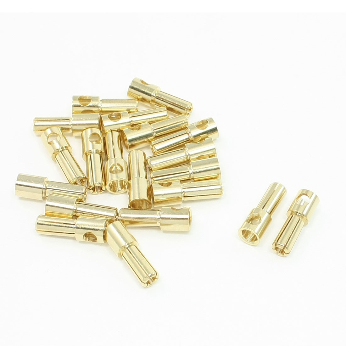 MH1158 Gold Tone Metal RC Banana Plug Connector Male 5mm 20PCS