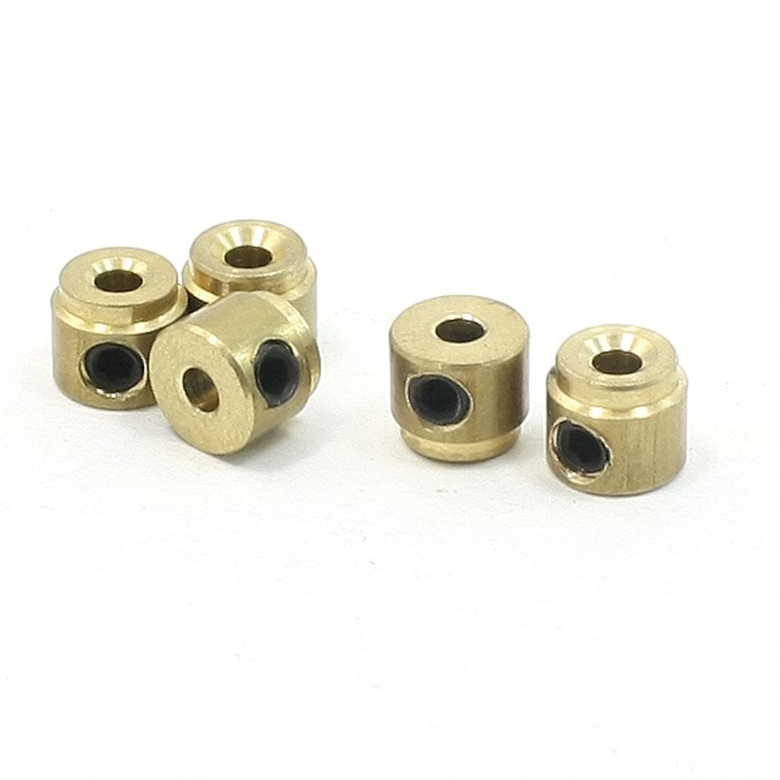 5 Pcs Gold Tone Three Way Holes Dia 2mm RC Plane Block Parts