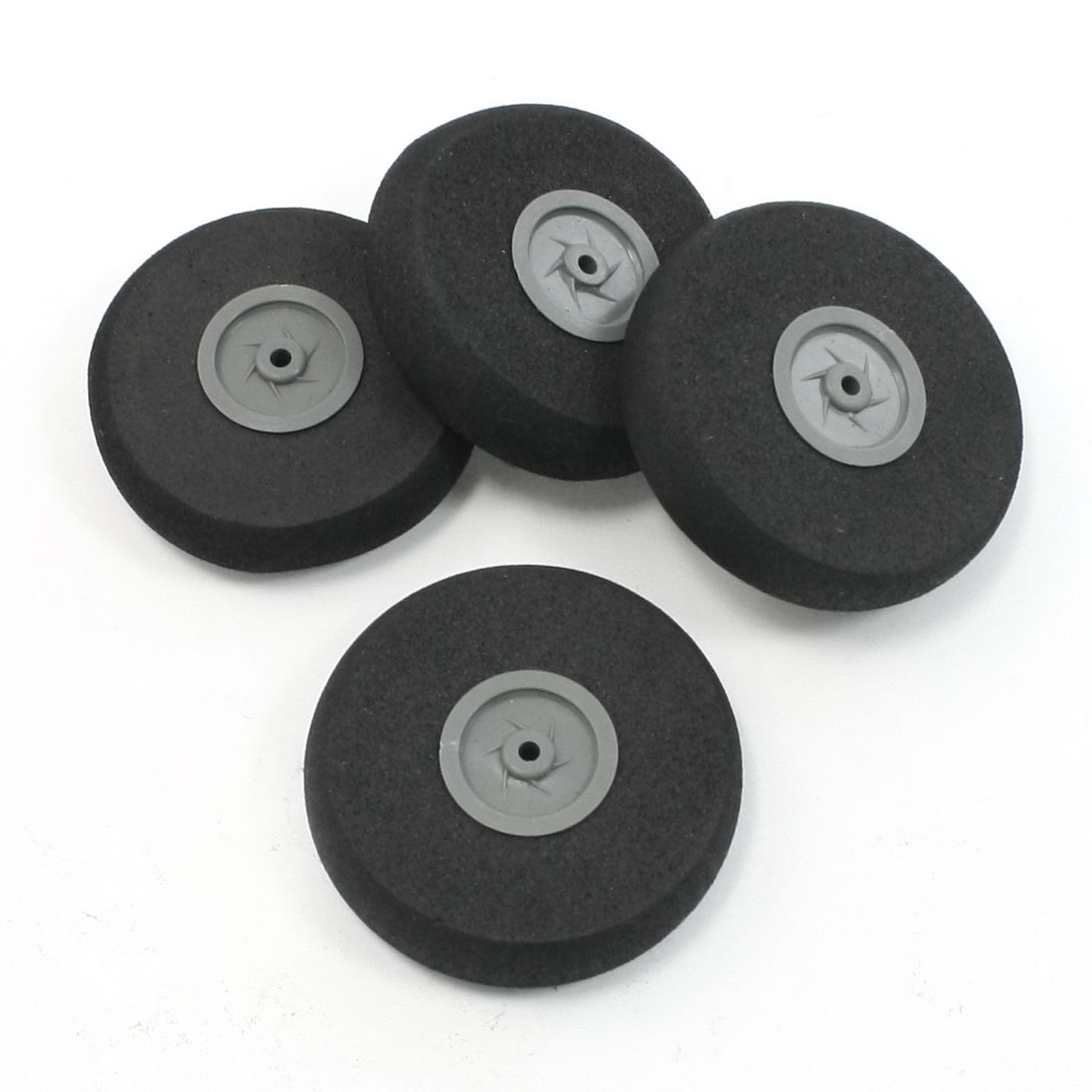 4PCS RC DIY Plane Model Airplane Repair Plastic Hub Black Foam Wheel 40mm