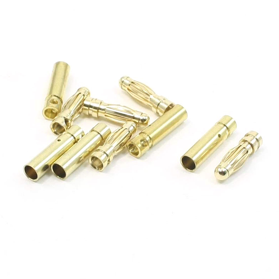 5 Pairs Gold Tone Audio Video Devices Female Male Banana Connectors 3mm Dia