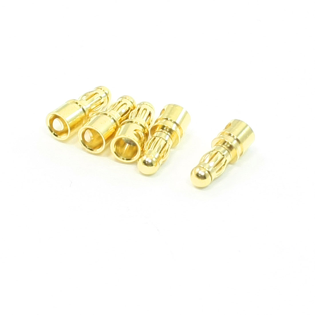 5 Pcs Gold Tone Metal RC Banana Bullet Plug Connector Male 3.5mm
