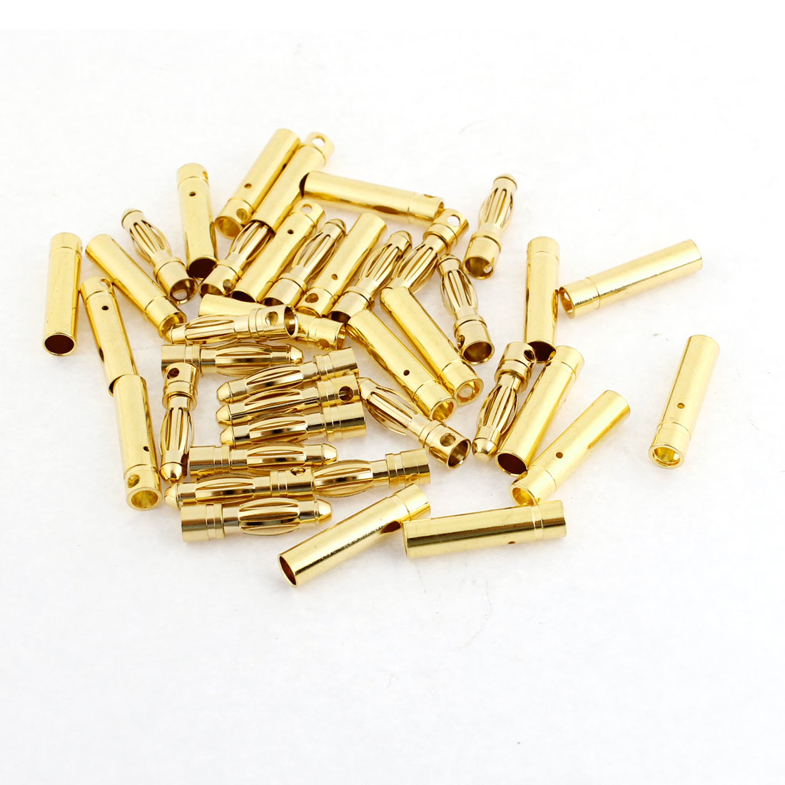 20 Pairs Gold Tone Metal RC Banana Connector Male Female 4mm