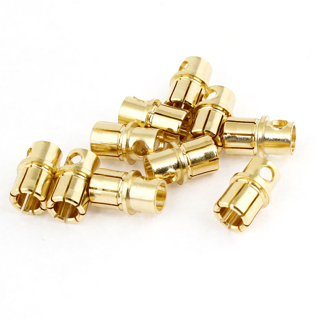 10 Pcs BY502 Gold Tone Metal RC Banana Plug Connector Male 8mm Diameter