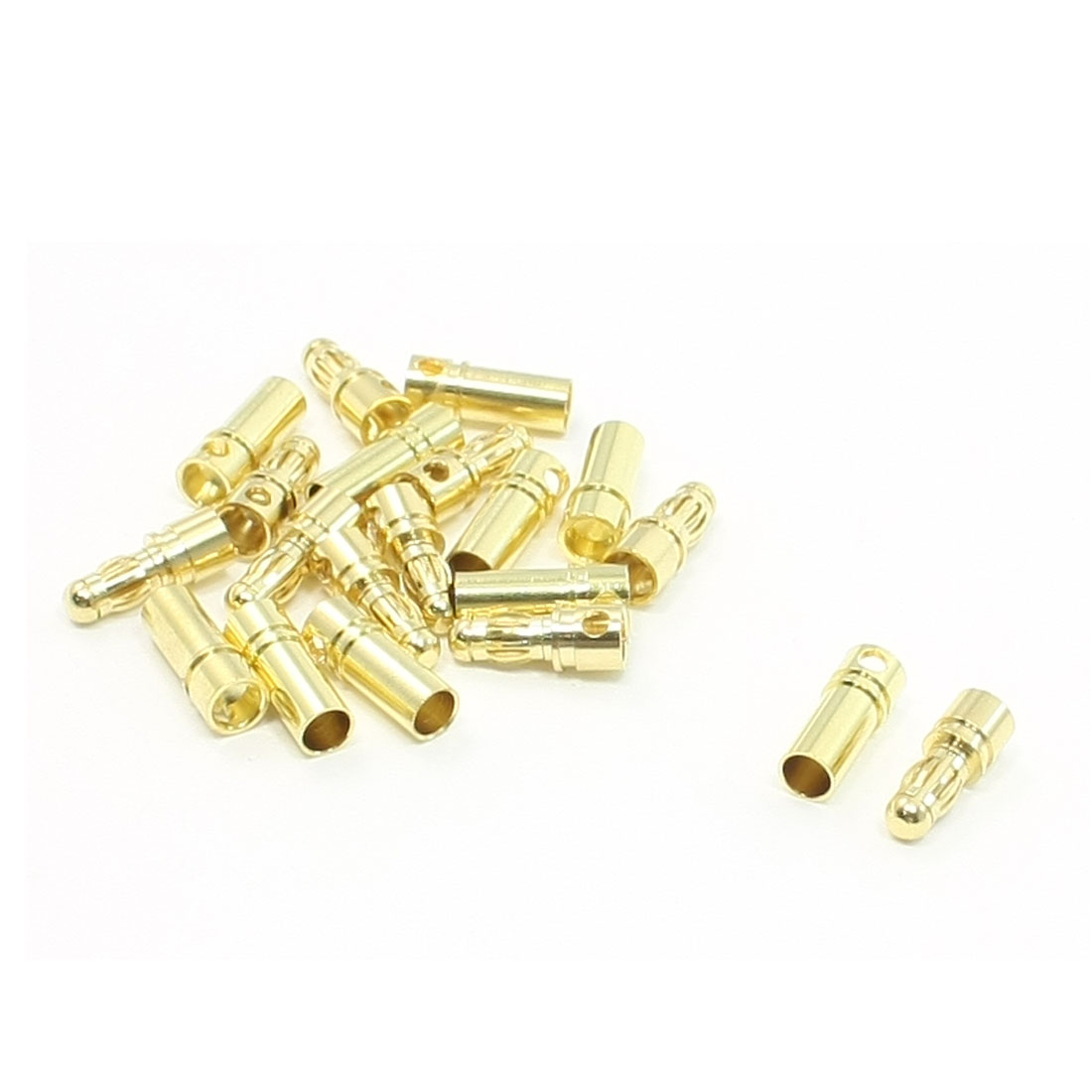 10 Pairs Gold Tone Metal Banana Plug Male Female Connector 3.5mm