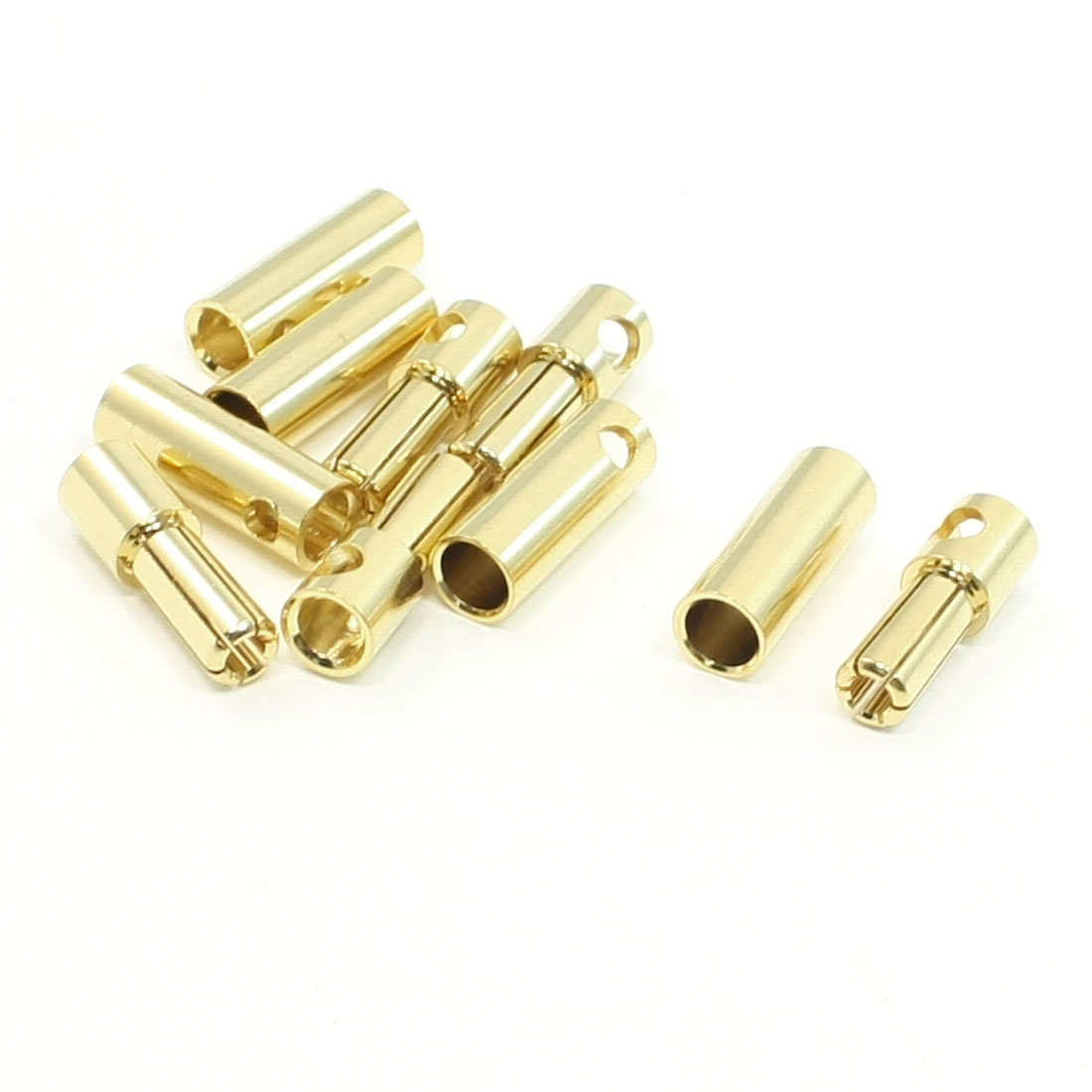 5 Pairs Gold Tone Metal RC Battery Plug Female Male Connector 5mm