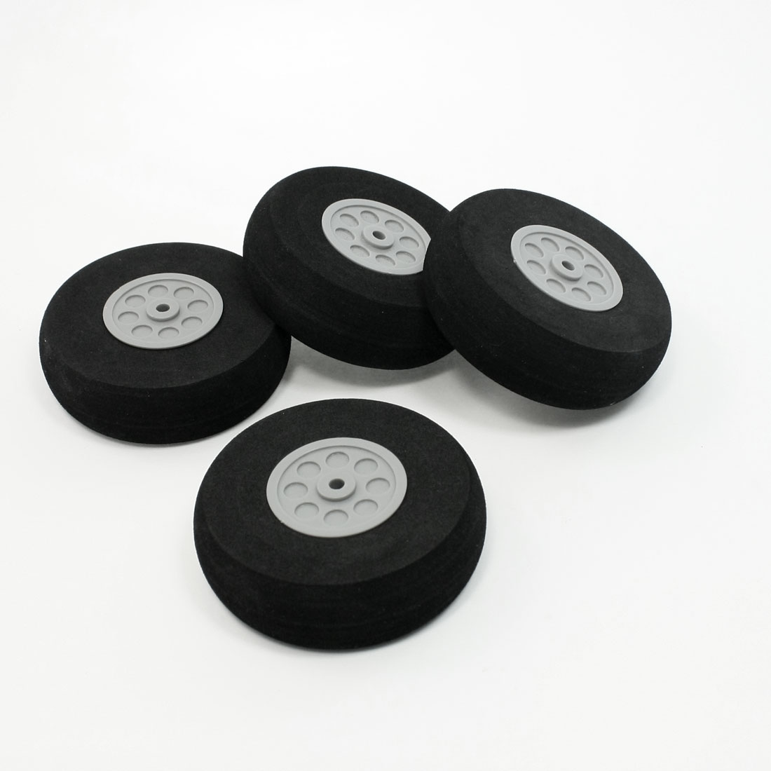 RC Model Plane Aircraft 75mm Dia Foam Wheel Replacement Black Gray 4 Pieces