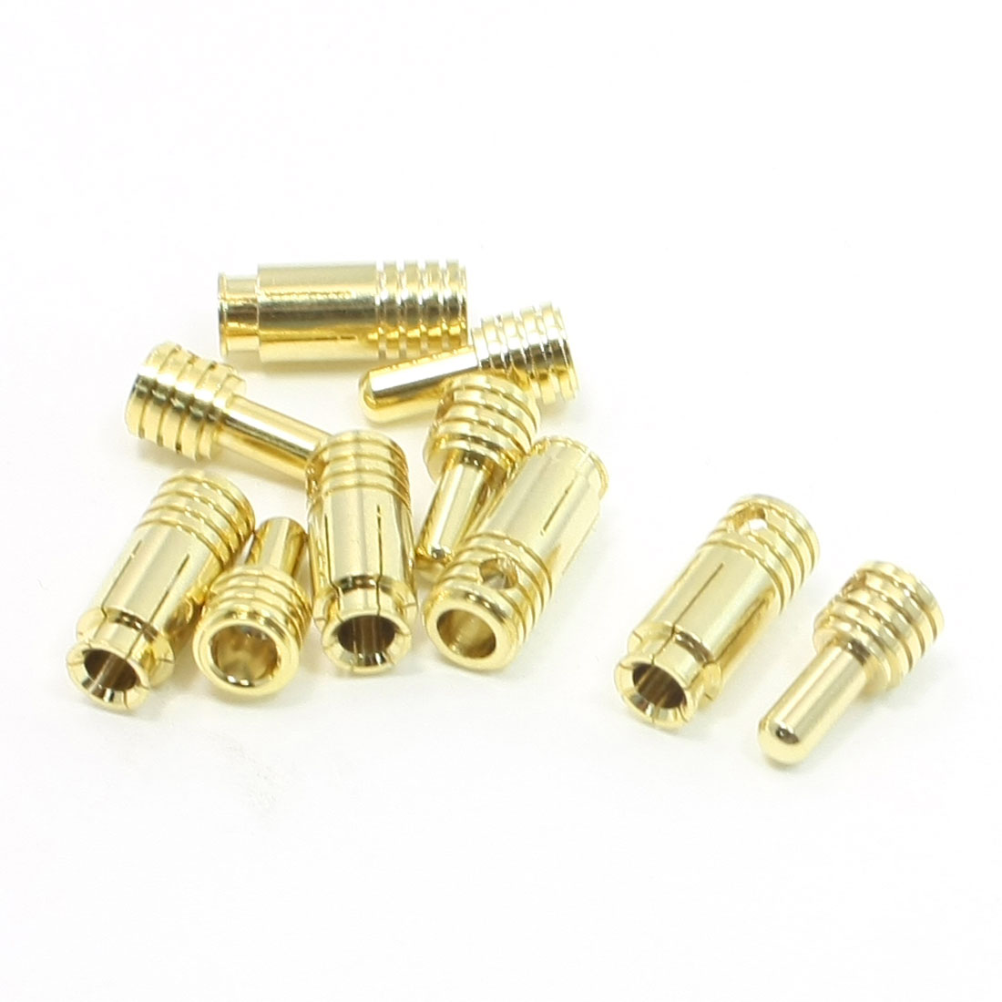 5 Pairs Gold Tone Metal RC Male Female 3.5mm Inner Dia Connectors
