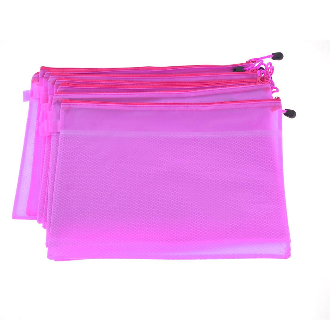 10 Pcs Two Compartments Zippered PVC A4 Paper File Folder Bags Light Purple