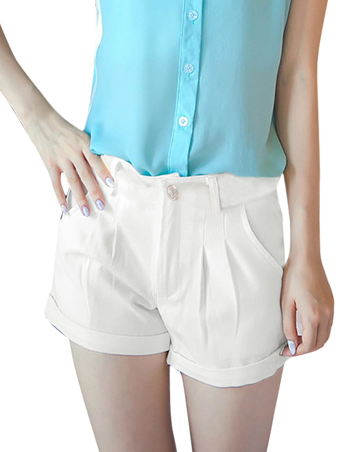 Women Zip Up Waistband Loop Pockets Button Decor Shorts White S