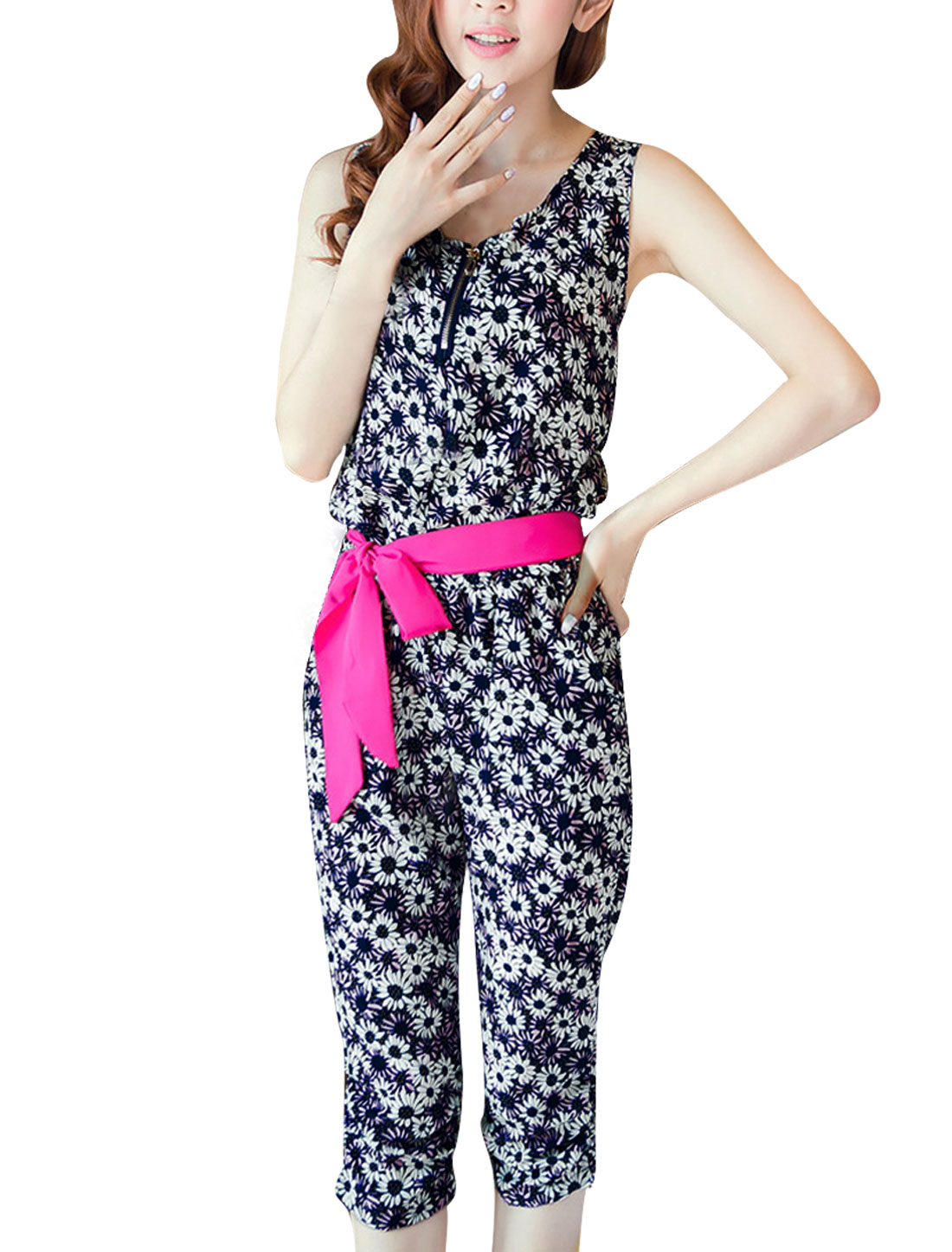 Women M Navy Blue Round Neck Floral Pattern Elastic Wasit Jumpsuit