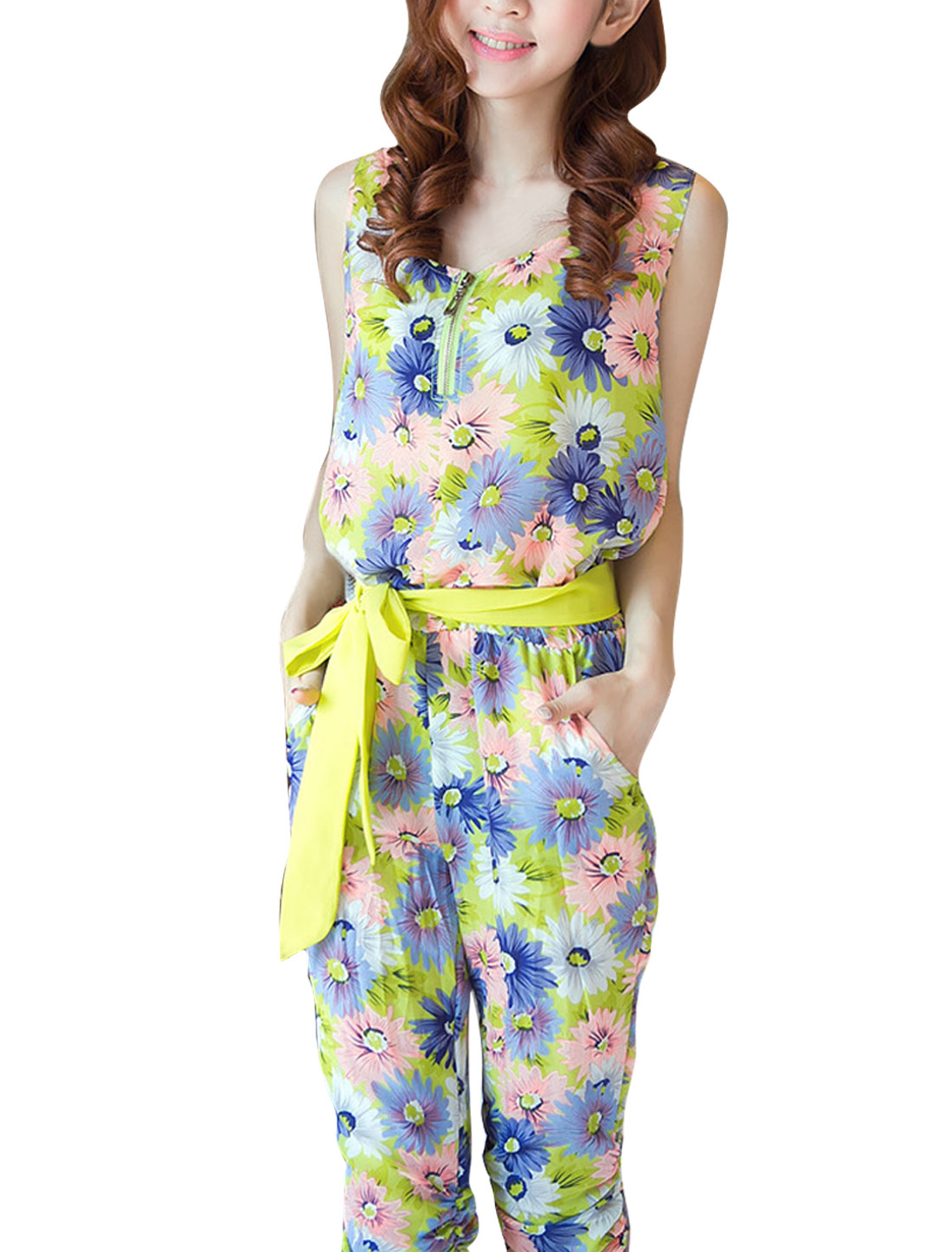 Women Green M Round Neck Slant Pockets Sleeveless Design Casual Jumpsuit