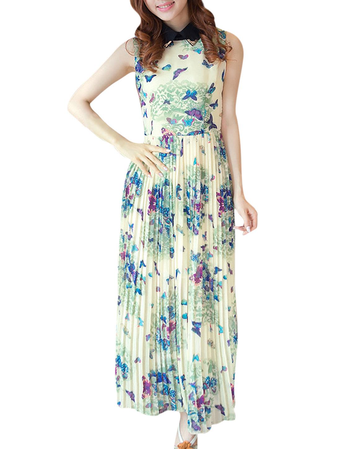 Women S Beige Green Sleeveless Butterfly Pattern Point Collar Dress