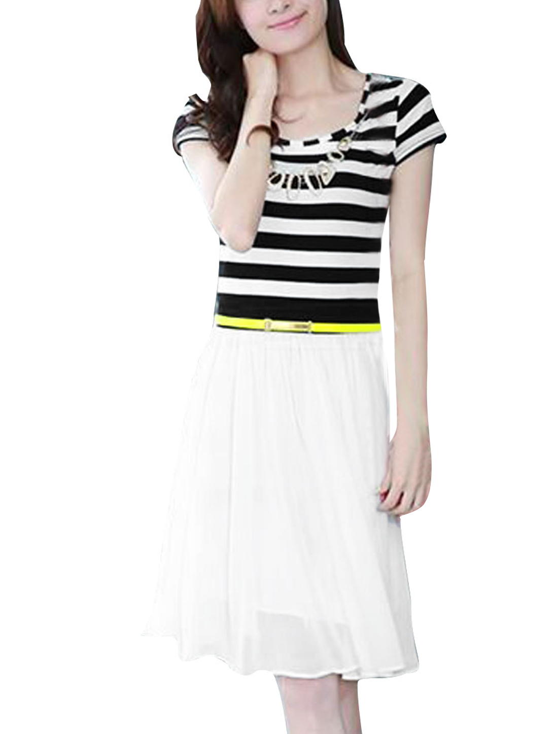 Women XS White Cap Sleeve Round Neck Design Stripes Pattern Pullover Dress