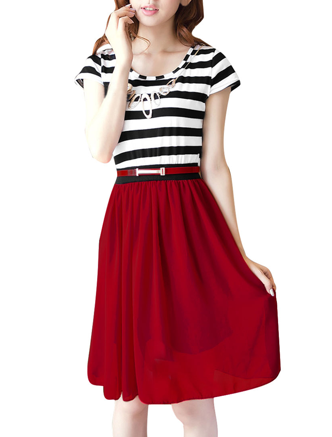 Ladies XS Red Round Neck Color Block Stripes Pattern Elastic Waist Dress