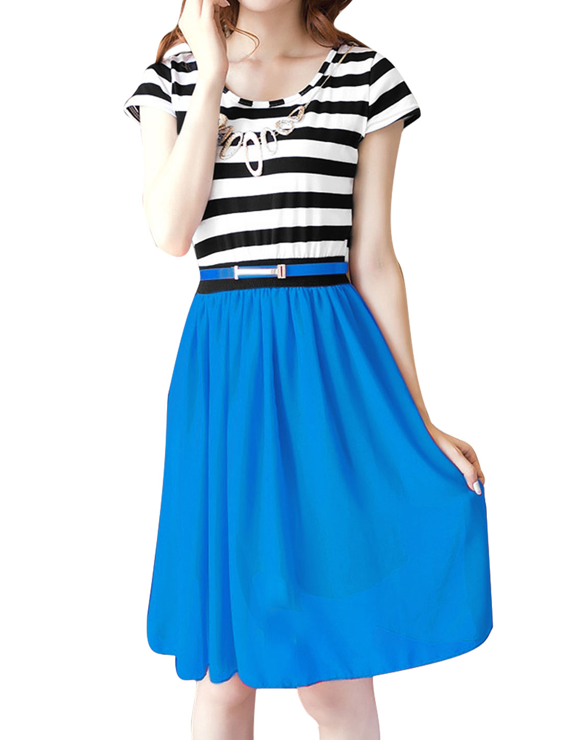 Blue XS Stretchy Waist Design Two Tone Cap Sleeve Women Dress
