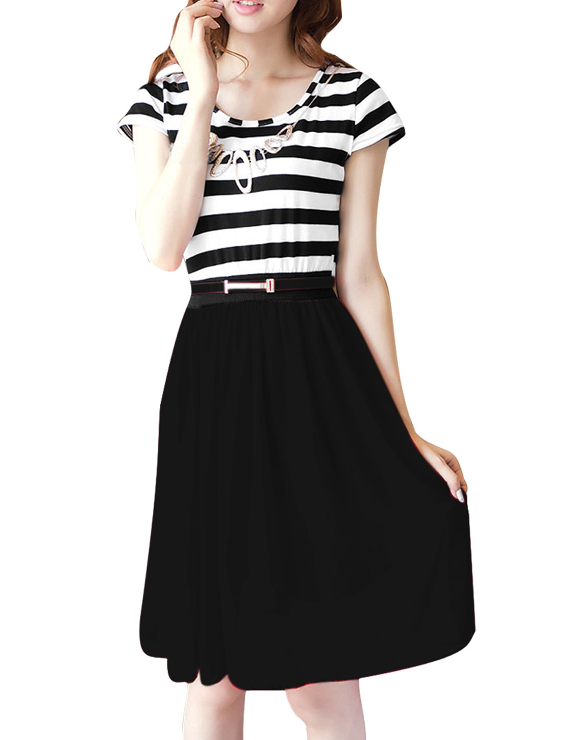 XS Black Two Tone Color Block Summer Stripes Print Casual Dress for Ladies