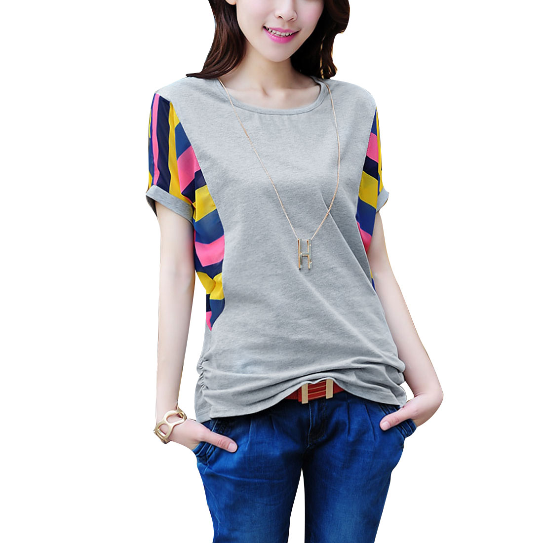 Women Round Neck Pullover Stripes Detail T-shirt Pink Light Gray S