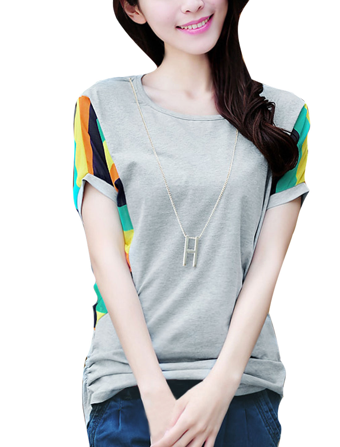 Women Pullover Batwing Sleeve Splice Necklace T-shirt Green Light Gray S