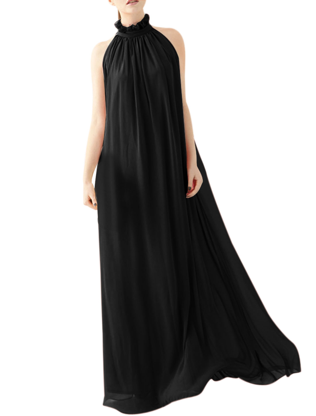 Women Mock Neck Sleeveless Semi Sheer Maxi Dress Black L