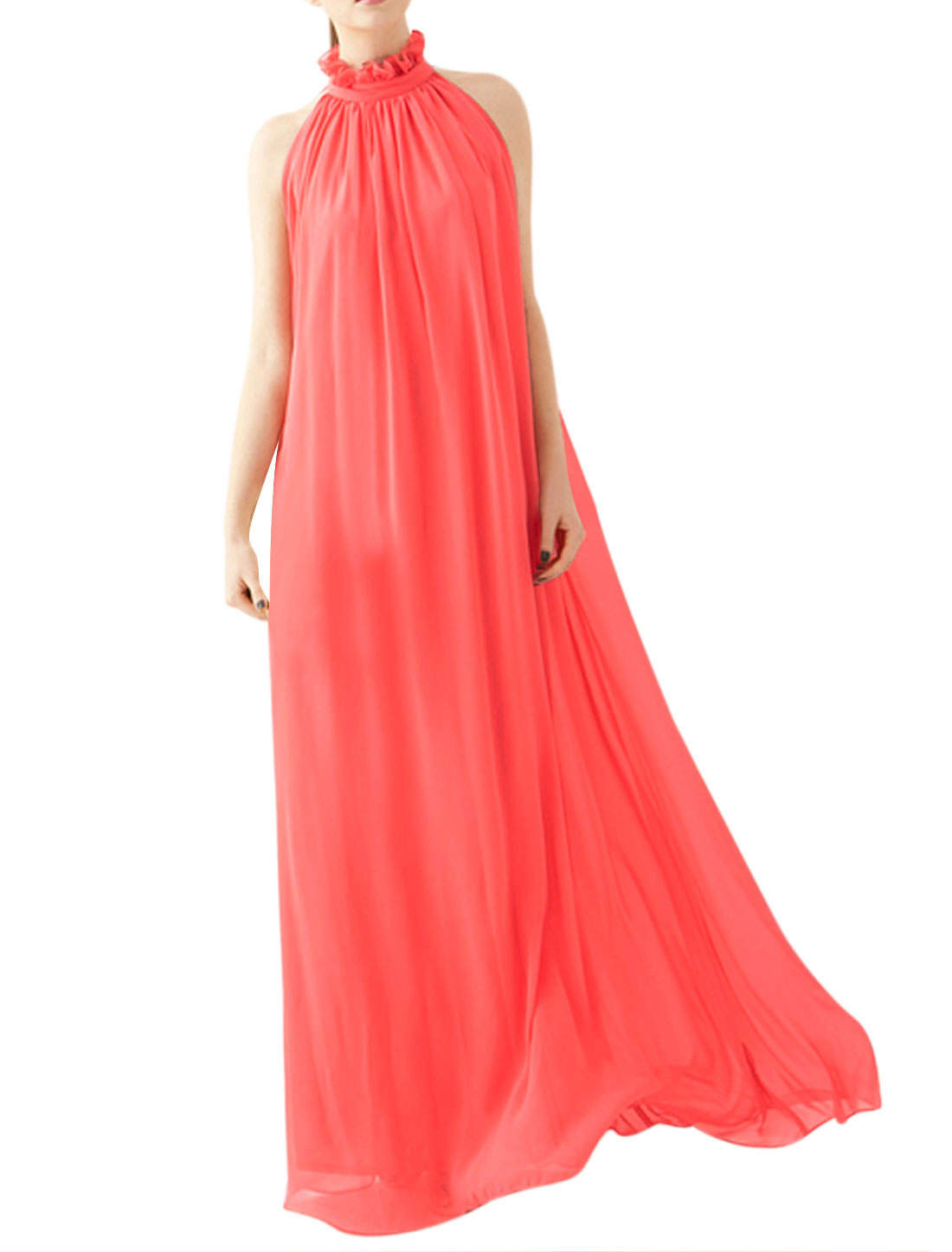 Women Mock Neck Sleeveless Semi Sheer Maxi Dress Red L