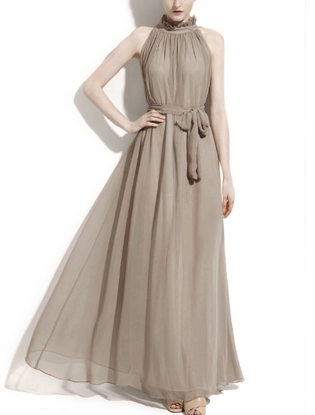 Women Mock Neck Sleeveless Semi Sheer Maxi Dress Gray L