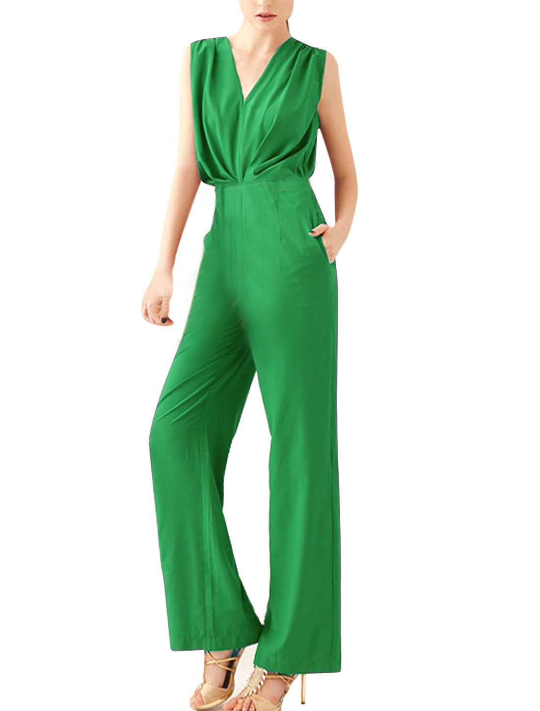 Women M Green V Neck Sleeveless Design Solid Color Casual Elegant Jumpsuit