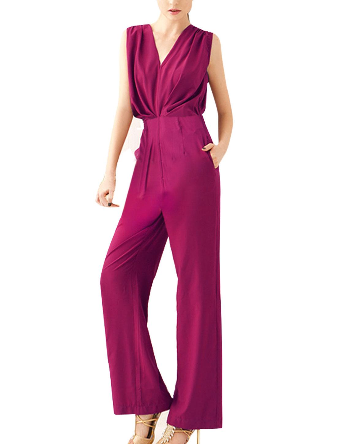 M Purple Concealed Zipper Design Solid Color Sleeveless Women Jumpsuit