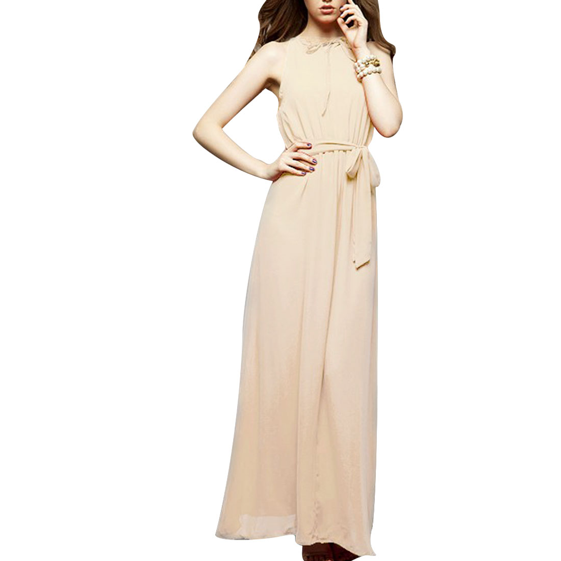 Women Beige M Halter Neck Elastic Waist Off Shoulder Design Pullover Dress