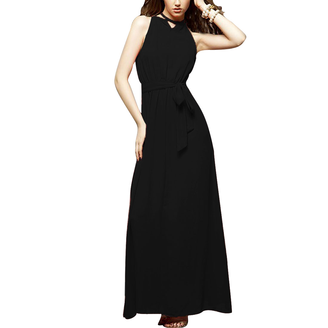 Ladies M Black Halter Neck Off Shoulder Style Stretchy Waist Casual Dress