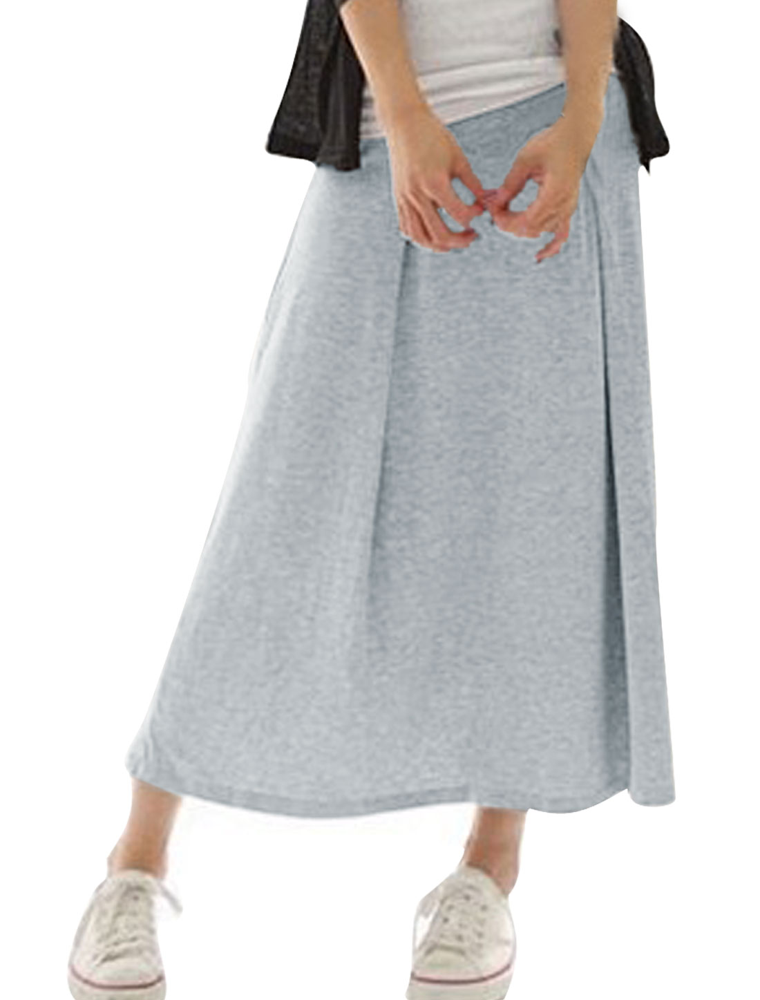 Women XS Light Grey Solid Color Elastic Waist Design Stylish Fashion Skirt