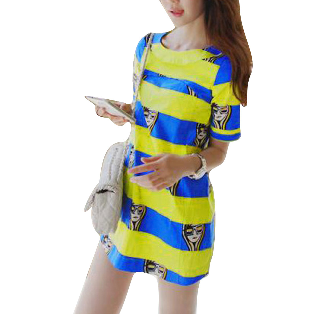 Women Yellow Blue S Short Sleeve Design Round Neck Portrait Pattern Dress