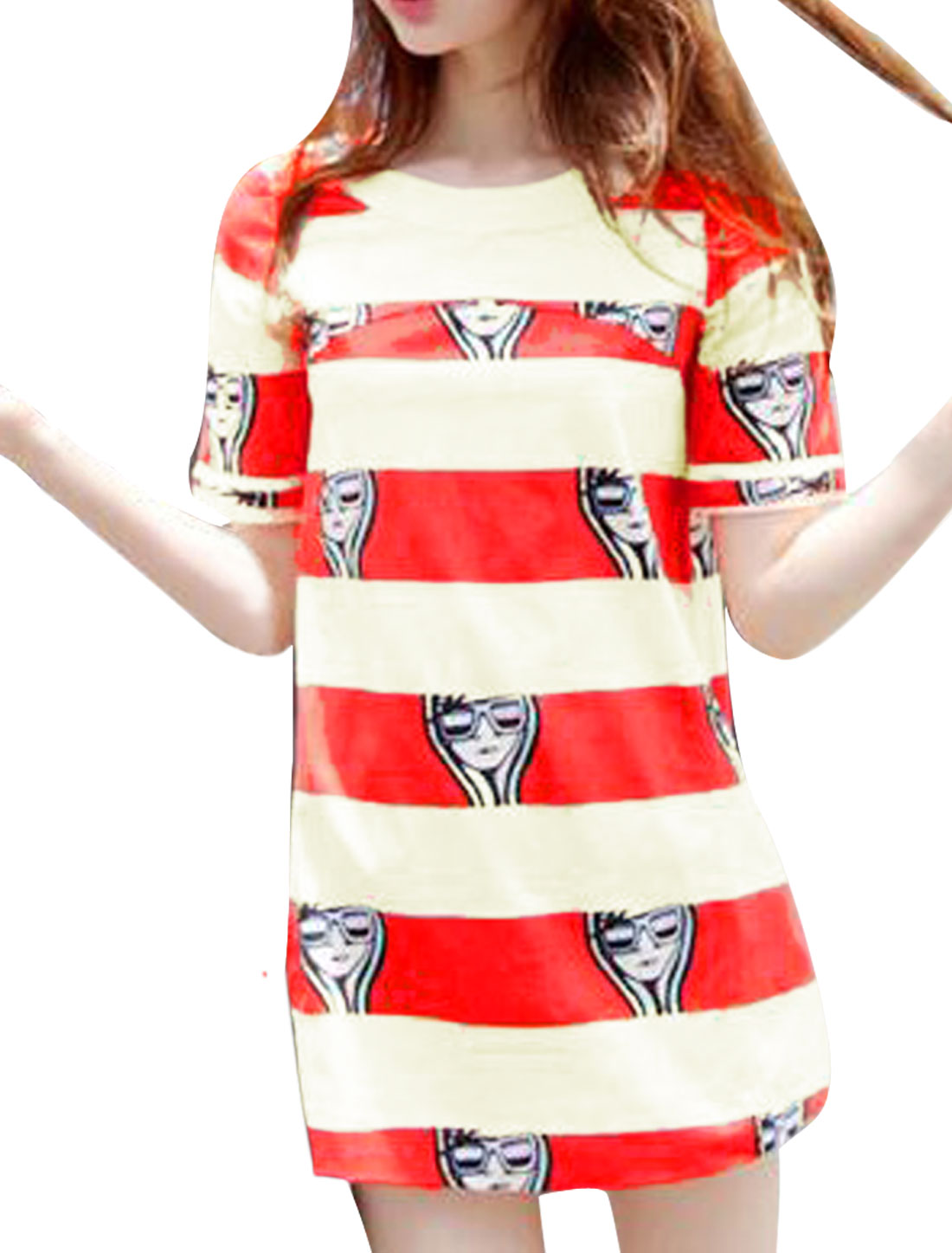 Beige Red S See Through Color Block Short Sleeve Women Dress