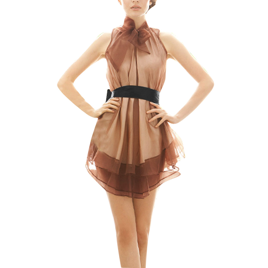 Women Stand Collar Zip Up Back Sleeveless Belt Dress Coffee Beige M