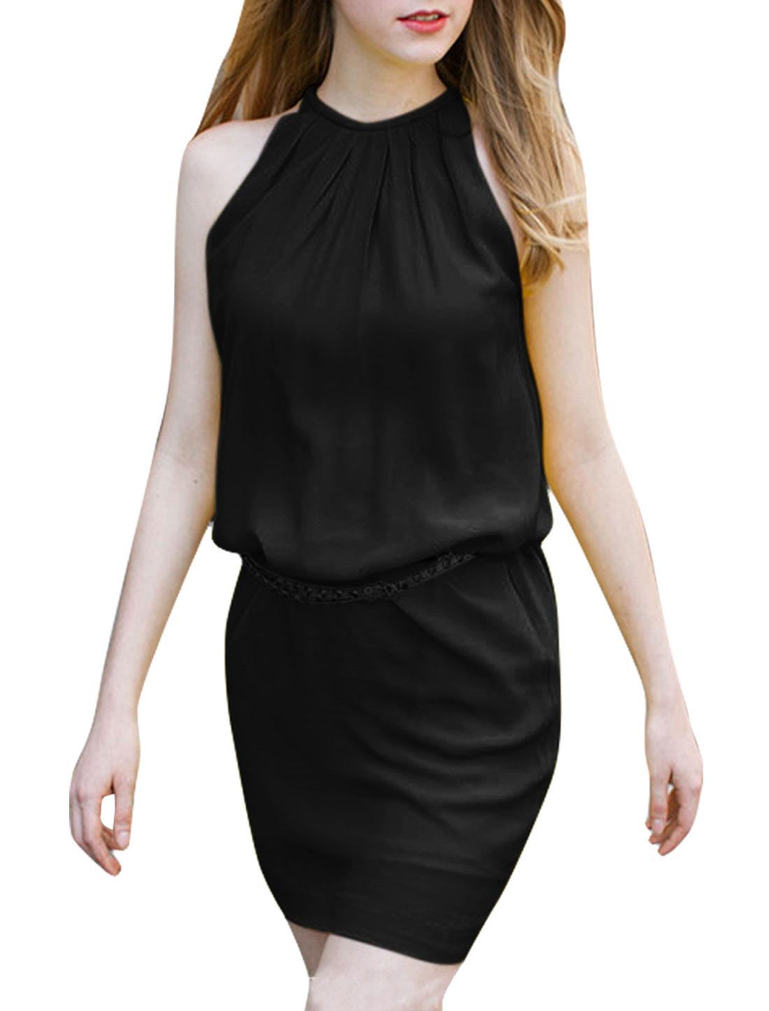 Women Halter Neck Zip Up Back Belt Dress Black M