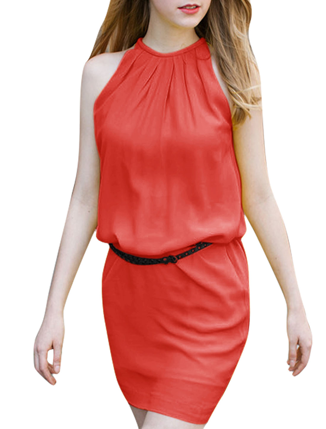 Women Halter Neck Sleeveless Dress Watermelon Red M