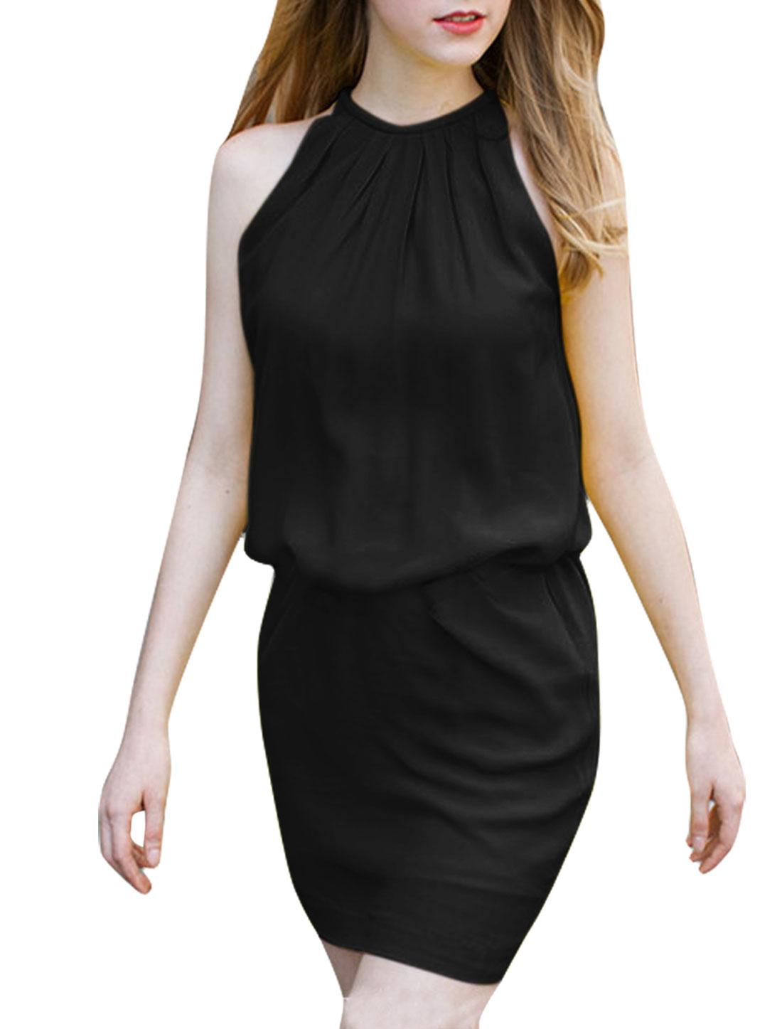 Women Halter Neck Belt Summer Wearing Dress Black L