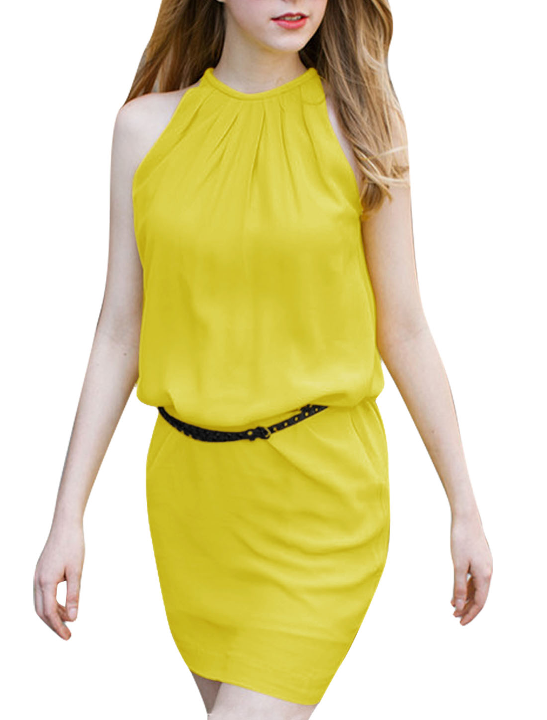 Women Zip Up Back Sleeveless Casual Shift Dress Yellow L