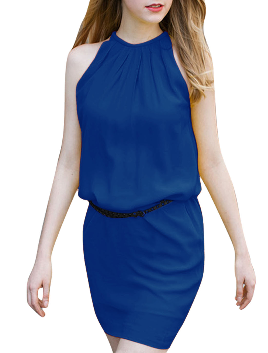 Women Sleeveless Ruched Detail Dress Royal Blue L