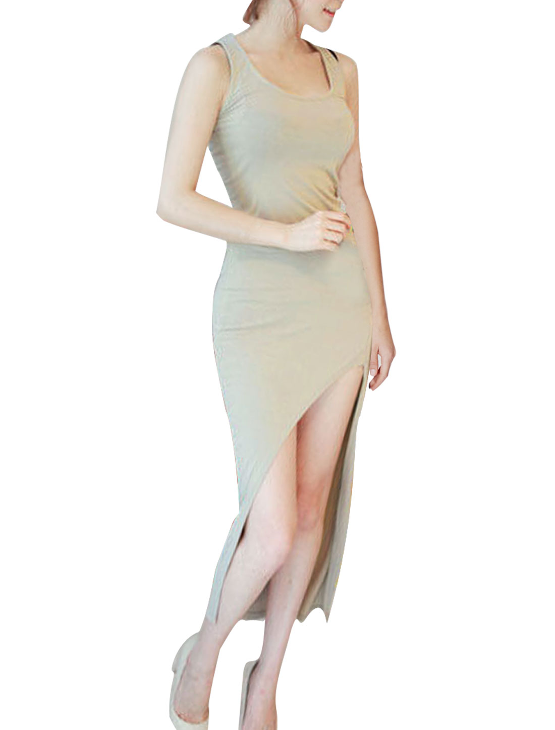 Women XS Khaki Round Neck Sleeveless Design Solid Color Pullover Dress