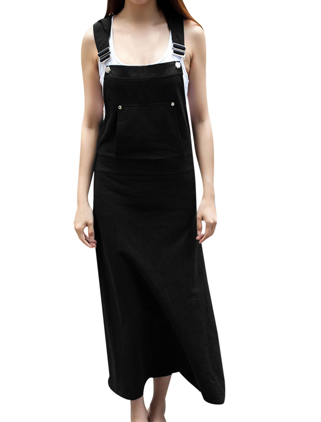 Women Full-Length Slim Fit Hooded Overall Dress Black XS