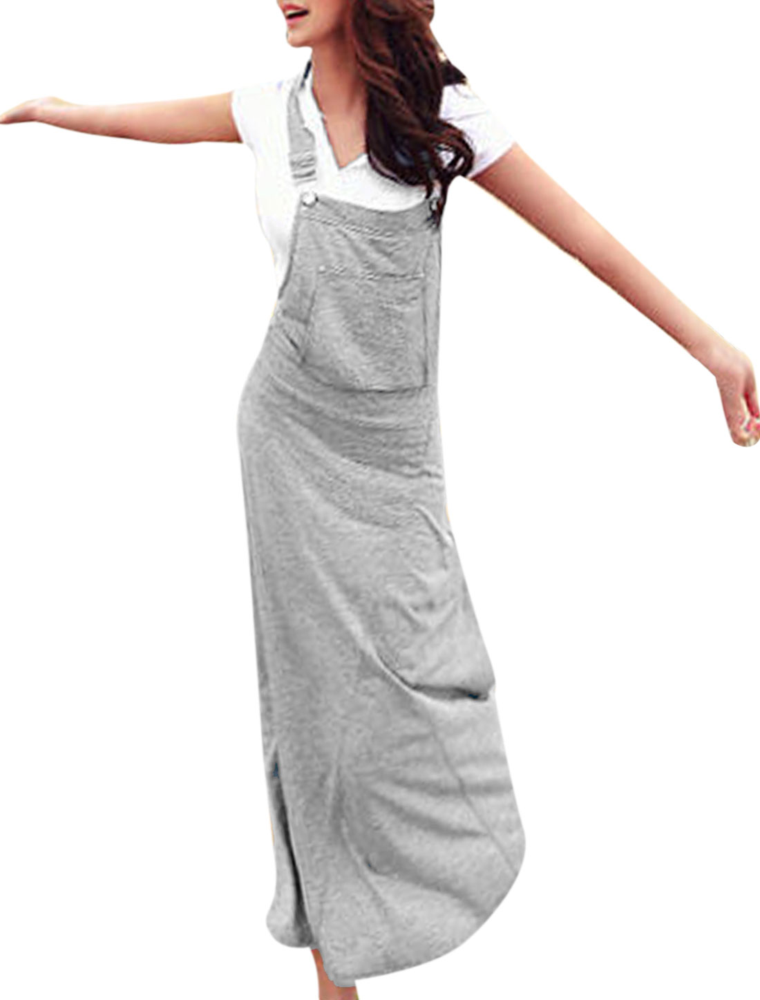 Women Full-Length Sleeveless Hooded Overall Dress Gray XS