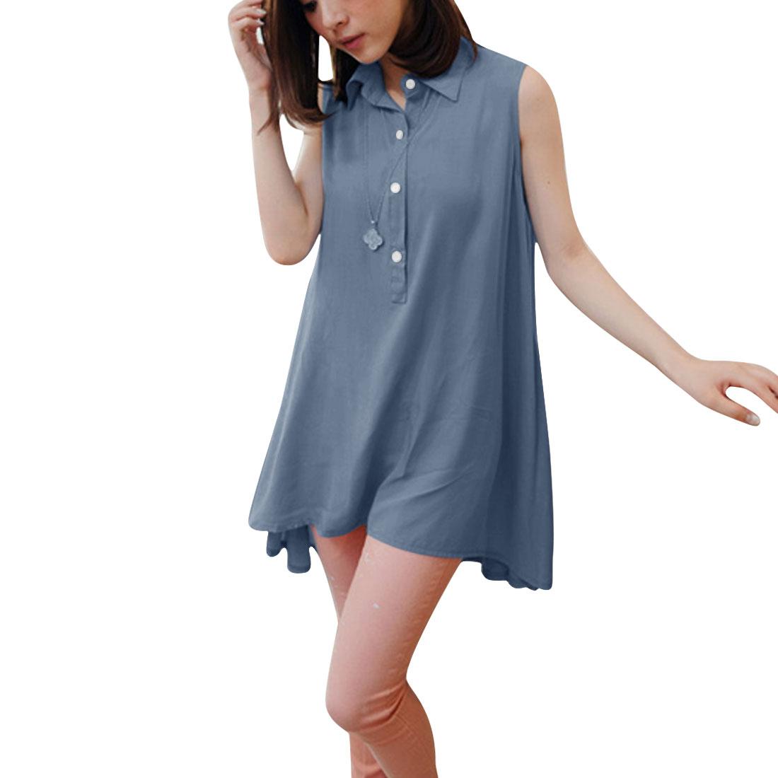 Women Sleeveless Low High Tops Light Blue XS